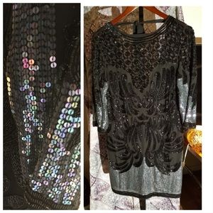 ASOS Sequin and Beaded 3/4 sleeve dress Sz 4